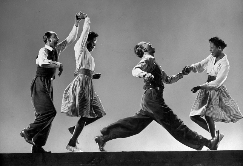 COMPOSITE: Leon James & Willa Mae Ricker demonstrating steps of The Lindy Hop.
